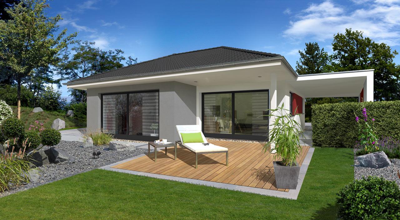bungalow mit carport und berdachter terrasse. Black Bedroom Furniture Sets. Home Design Ideas