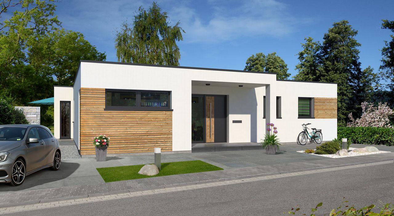 energiesparbungalow bauen mit streif bungalow mit flachdach im bauhausstil. Black Bedroom Furniture Sets. Home Design Ideas